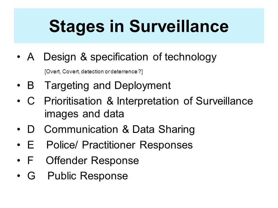 Stages in Surveillance A Design & specification of technology [Overt, Covert, detection or deterrence ] BTargeting and Deployment C Prioritisation & Interpretation of Surveillance images and data D Communication & Data Sharing E Police/ Practitioner Responses F Offender Response G Public Response