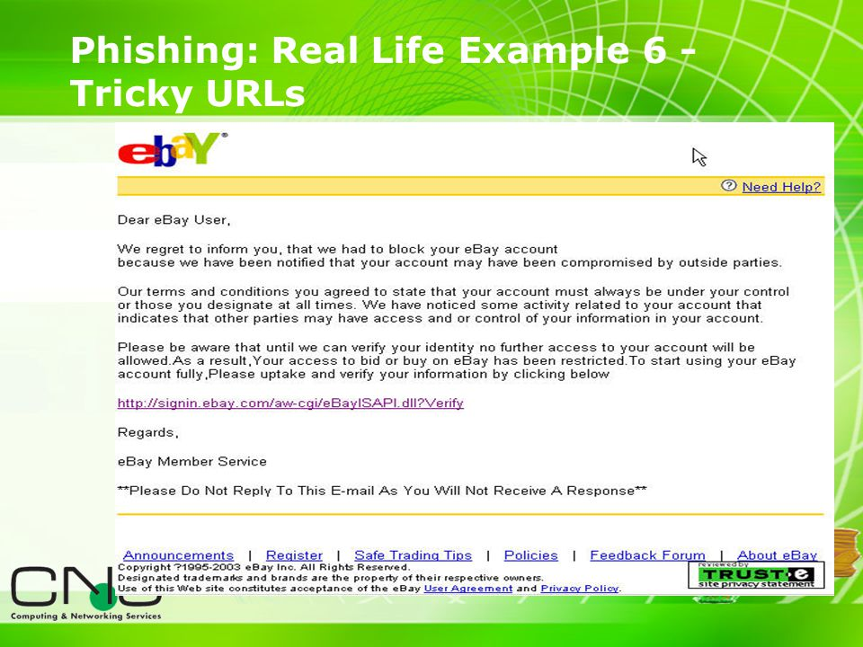 15 Phishing: Real Life Example 6 - Tricky URLs