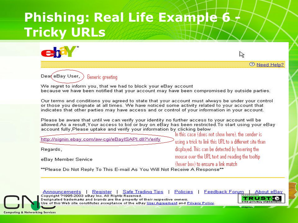 16 Phishing: Real Life Example 6 - Tricky URLs