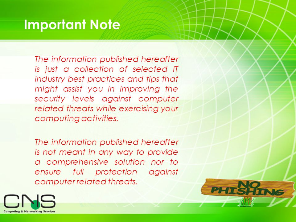 2 Important Note The information published hereafter is just a collection of selected IT industry best practices and tips that might assist you in imp