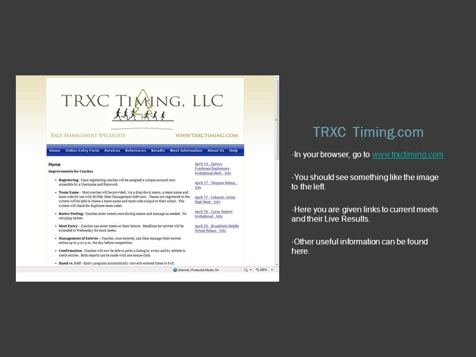 TRXC Timing.com In your browser, go to   You should see something like the image to the left.