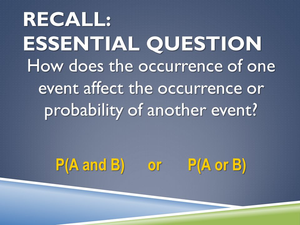 RECALL: ESSENTIAL QUESTION How does the occurrence of one event affect the occurrence or probability of another event? P(A and B) or P(A or B)