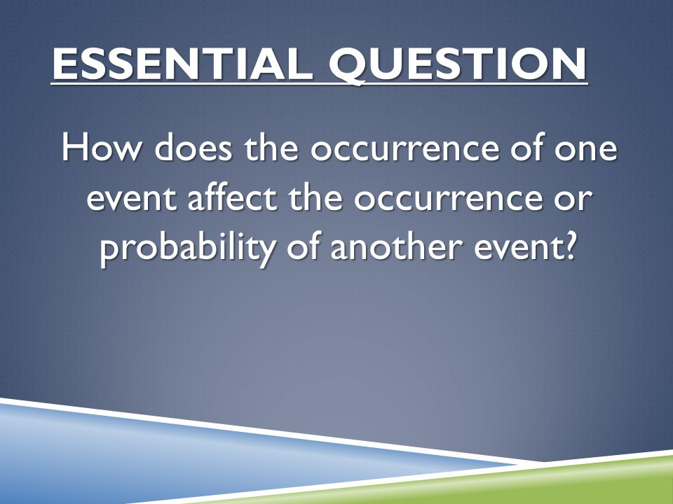 ESSENTIAL QUESTION How does the occurrence of one event affect the occurrence or probability of another event?