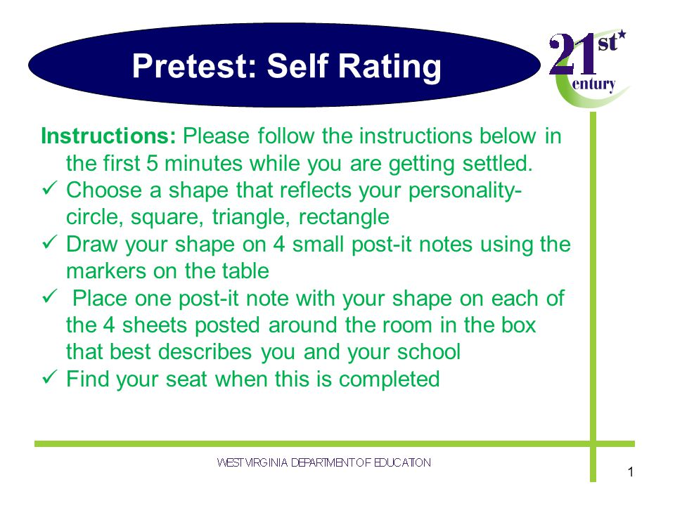 Pretest: Self Rating Instructions: Please follow the instructions below in the first 5 minutes while you are getting settled. Choose a shape that refl