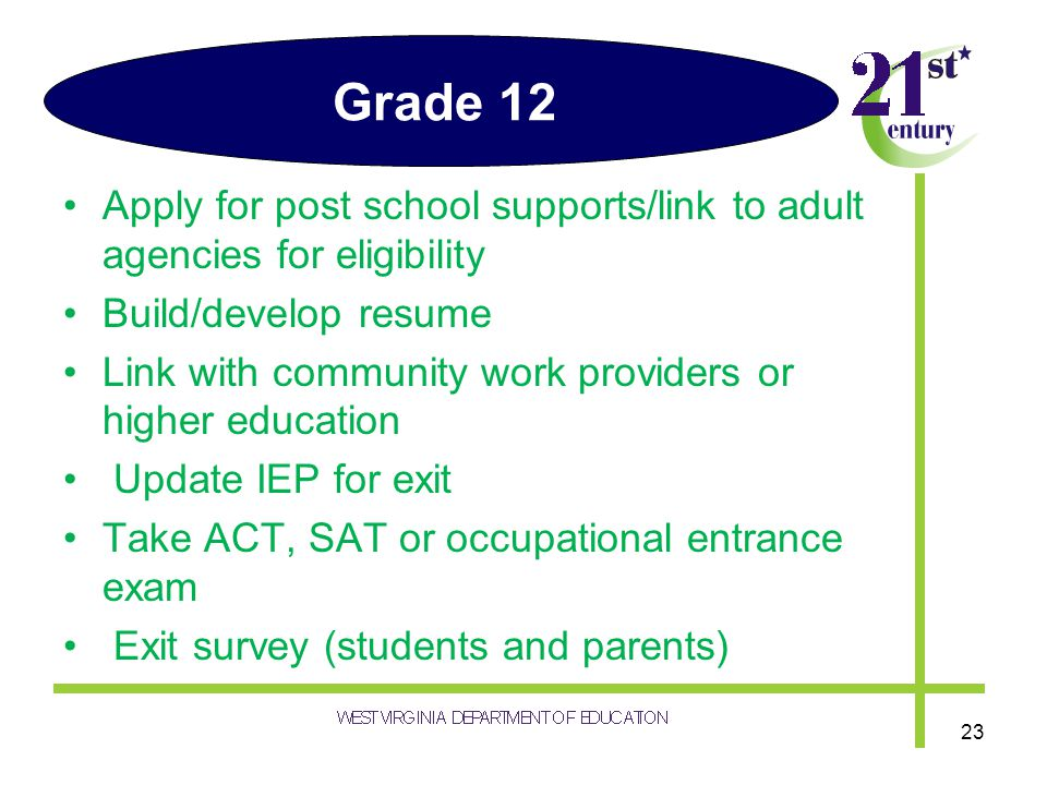 Grade 12 Apply for post school supports/link to adult agencies for eligibility Build/develop resume Link with community work providers or higher educa