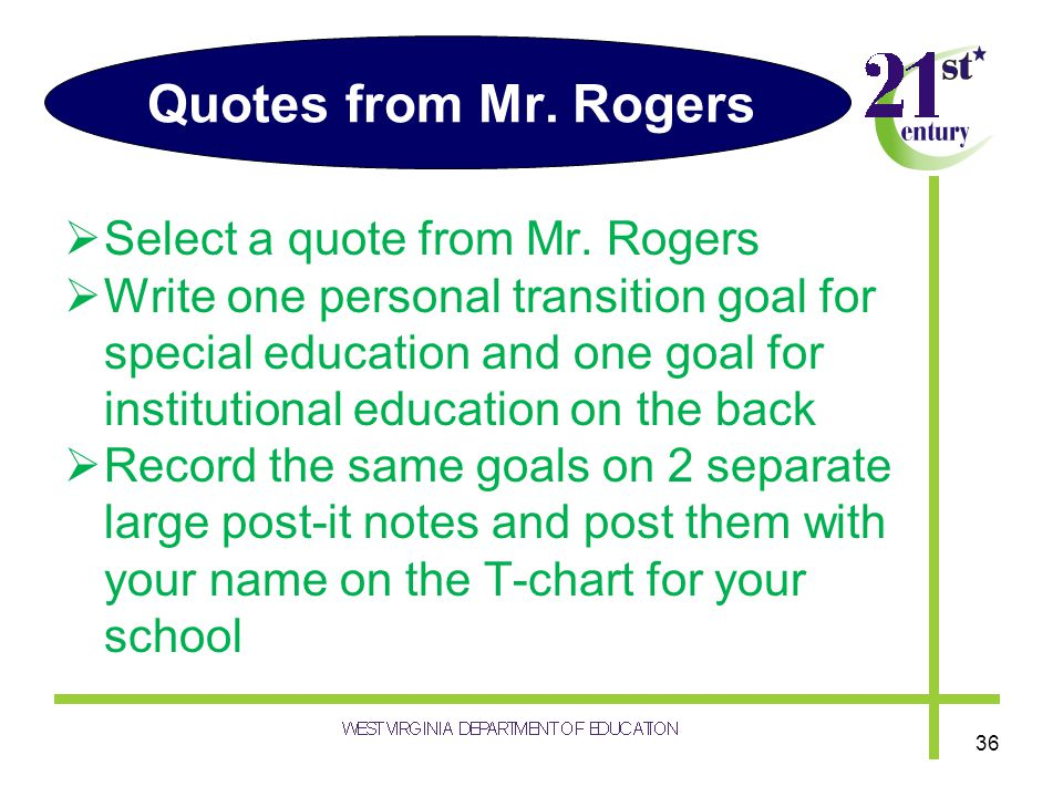 Quotes from Mr. Rogers Select a quote from Mr. Rogers Write one personal transition goal for special education and one goal for institutional educatio
