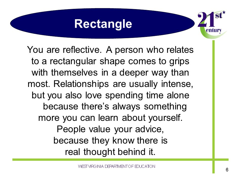 Rectangle You are reflective. A person who relates to a rectangular shape comes to grips with themselves in a deeper way than most. Relationships are