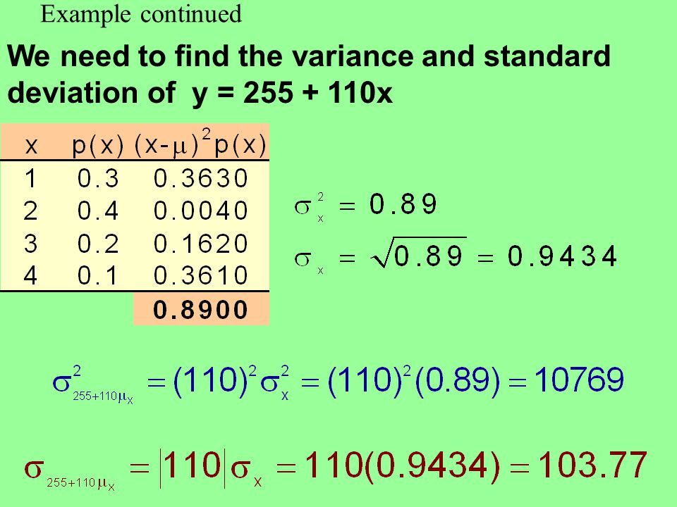Example continued We need to find the variance and standard deviation of y = 255 + 110x