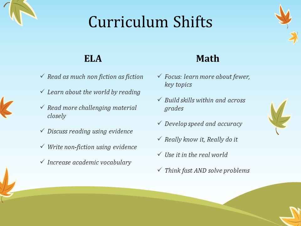 ELA Read as much non fiction as fiction Learn about the world by reading Read more challenging material closely Discuss reading using evidence Write n