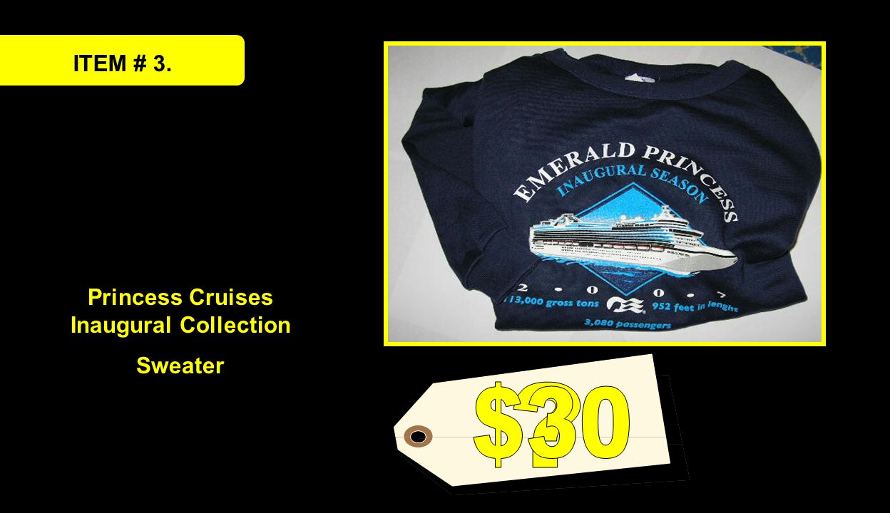 ITEM # 3. Princess Cruises Inaugural Collection Sweater