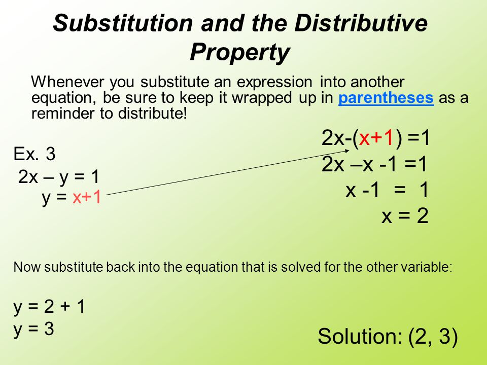 Substitution and the Distributive Property Whenever you substitute an expression into another equation, be sure to keep it wrapped up in parentheses as a reminder to distribute.