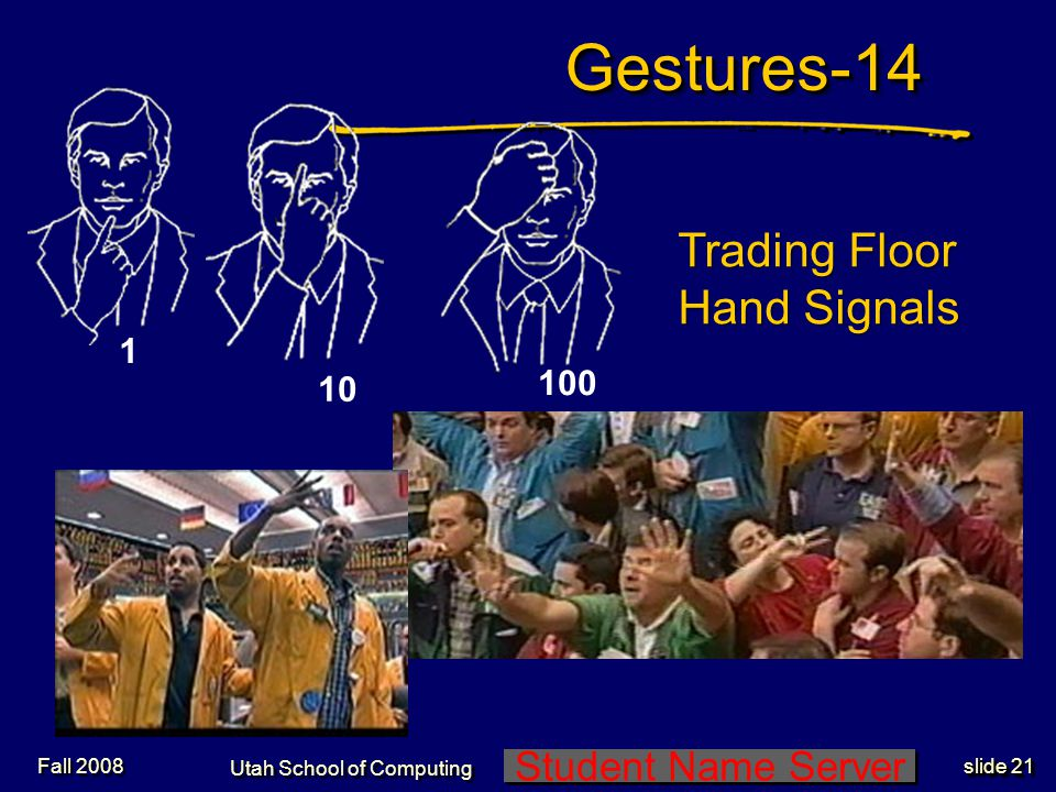Student Name Server Utah School of Computing slide 20 Gestures-13 Fall 2008 Whoa, stop, … End