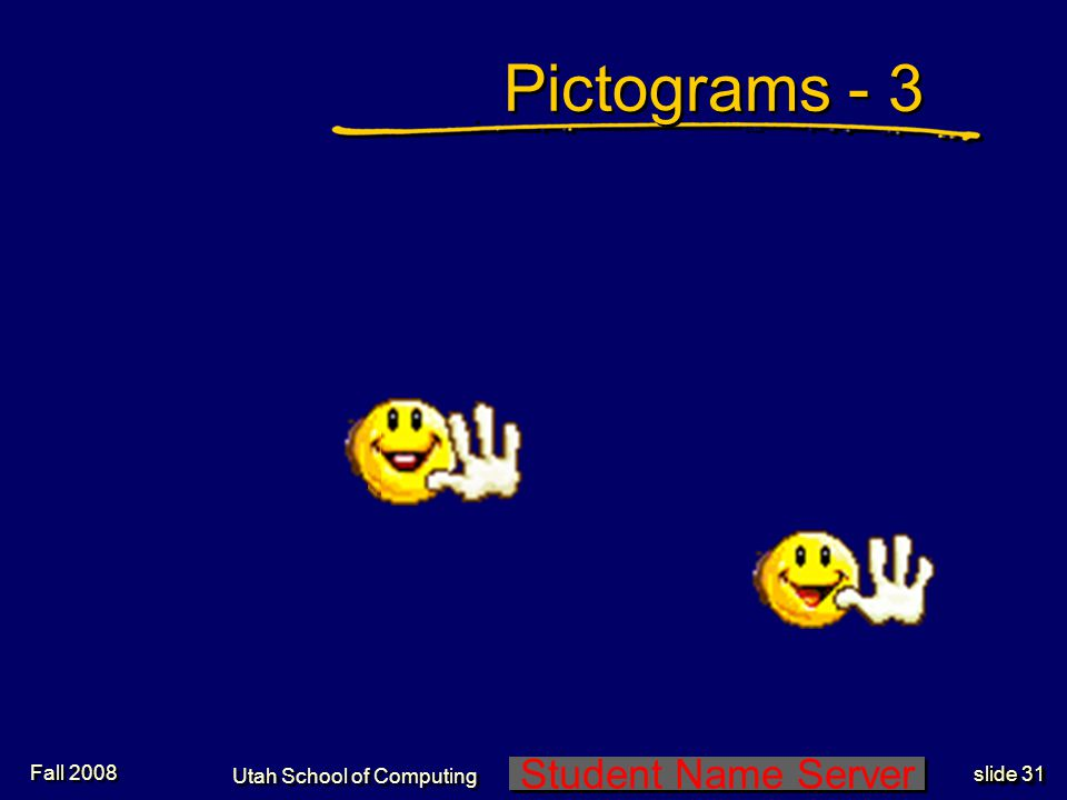 Student Name Server Utah School of Computing slide 30 Pictograms - 2 Fall 2008