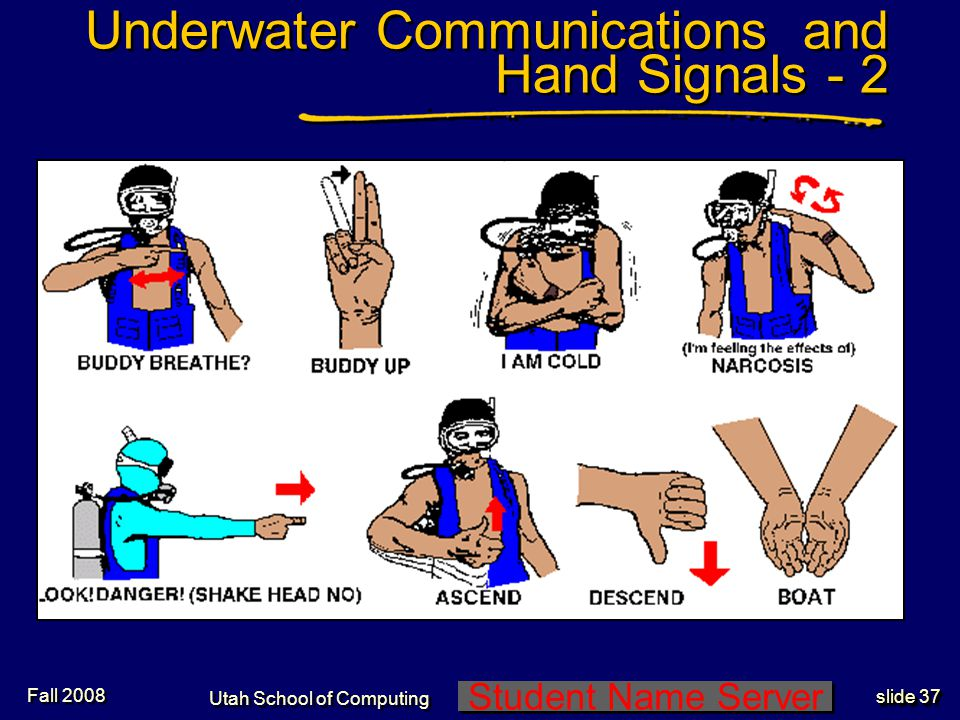 Student Name Server Utah School of Computing slide 36 Underwater Communications and Hand Signals - 1 Fall 2008