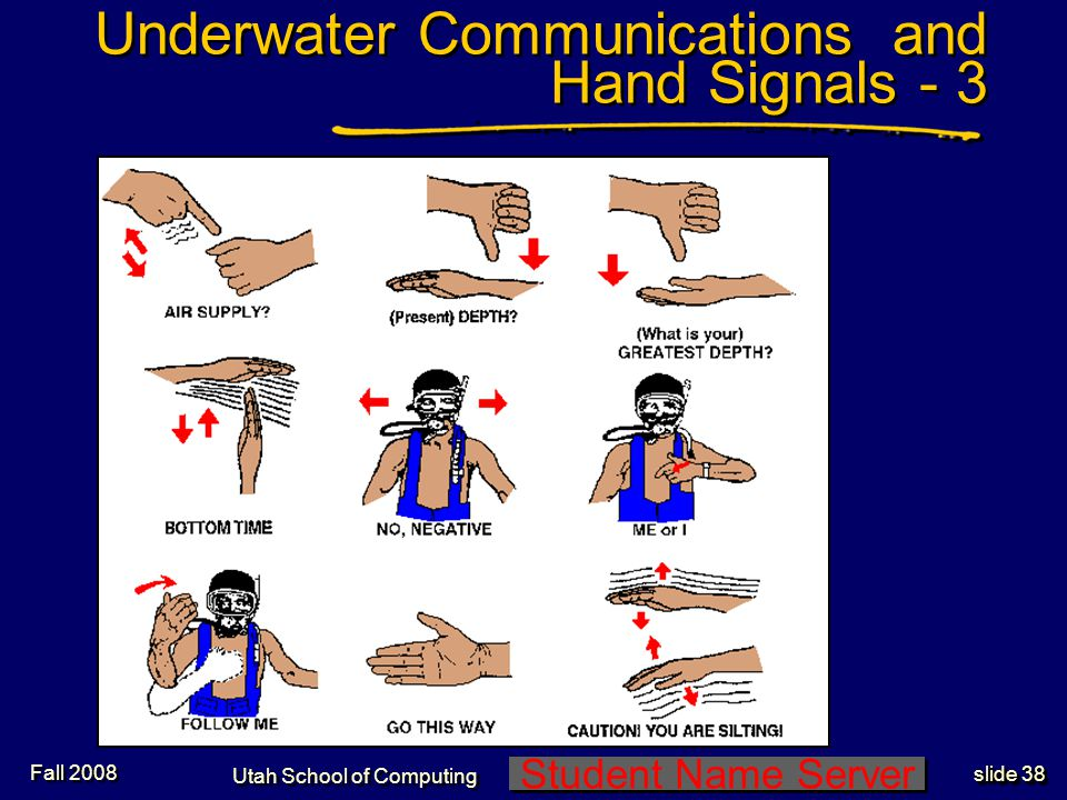 Student Name Server Utah School of Computing slide 37 Underwater Communications and Hand Signals - 2 Fall 2008