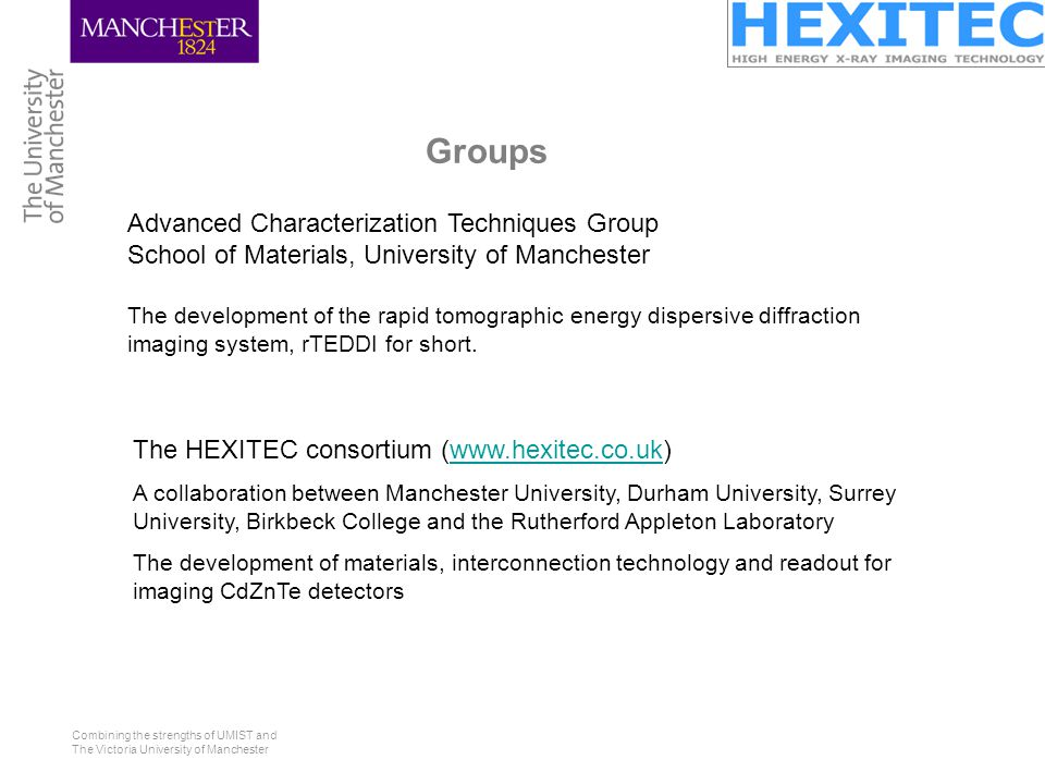 Combining the strengths of UMIST and The Victoria University of Manchester Groups Advanced Characterization Techniques Group School of Materials, University of Manchester The development of the rapid tomographic energy dispersive diffraction imaging system, rTEDDI for short.