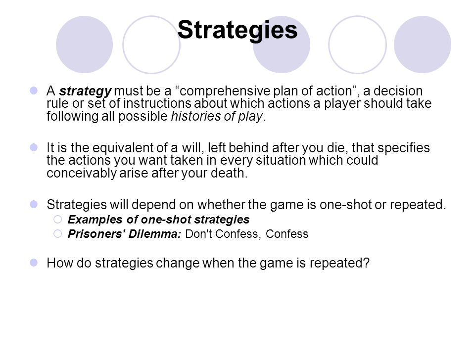 Strategies A strategy must be a comprehensive plan of action, a decision rule or set of instructions about which actions a player should take followin