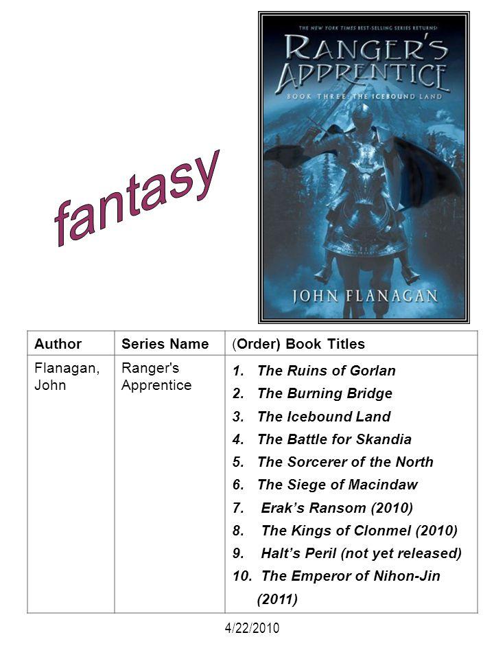 AuthorSeries Name(Order) Book Titles Flanagan, John Ranger's Apprentice 1.The Ruins of Gorlan 2.The Burning Bridge 3.The Icebound Land 4.The Battle fo