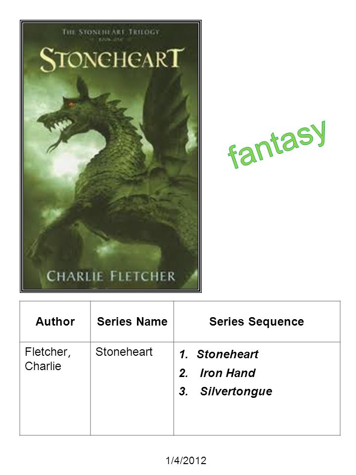 AuthorSeries NameSeries Sequence Fletcher, Charlie Stoneheart 1.Stoneheart 2. Iron Hand 3. Silvertongue 1/4/2012