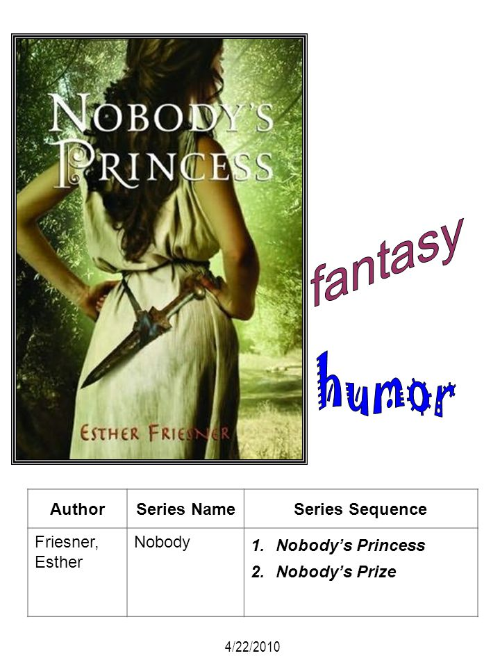 AuthorSeries NameSeries Sequence Friesner, Esther Nobody 1.Nobodys Princess 2.Nobodys Prize 4/22/2010