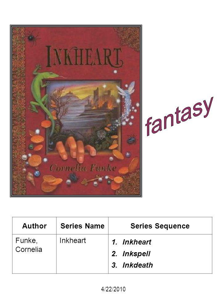 AuthorSeries NameSeries Sequence Funke, Cornelia Inkheart 1.Inkheart 2.Inkspell 3.Inkdeath 4/22/2010