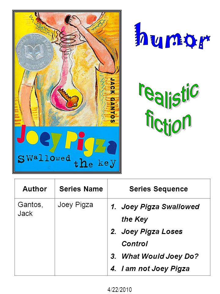 AuthorSeries NameSeries Sequence Gantos, Jack Joey Pigza 1.Joey Pigza Swallowed the Key 2.Joey Pigza Loses Control 3.What Would Joey Do? 4.I am not Jo
