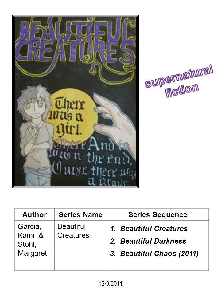 AuthorSeries NameSeries Sequence Garcia, Kami & Stohl, Margaret Beautiful Creatures 1. Beautiful Creatures 2. Beautiful Darkness 3. Beautiful Chaos (2