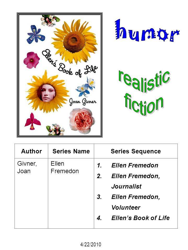 AuthorSeries NameSeries Sequence Givner, Joan Ellen Fremedon 1.Ellen Fremedon 2.Ellen Fremedon, Journalist 3.Ellen Fremedon, Volunteer 4.Ellens Book o