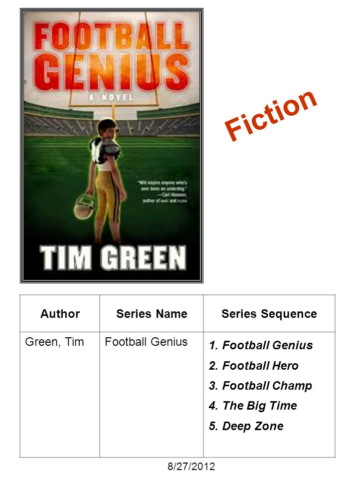 AuthorSeries NameSeries Sequence Green, TimFootball Genius 1. Football Genius 2. Football Hero 3. Football Champ 4. The Big Time 5. Deep Zone 8/27/201
