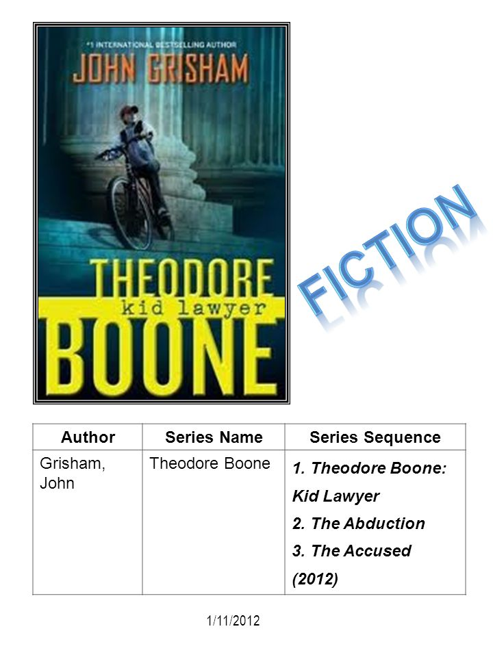 AuthorSeries NameSeries Sequence Grisham, John Theodore Boone 1. Theodore Boone: Kid Lawyer 2. The Abduction 3. The Accused (2012) 1/11/2012