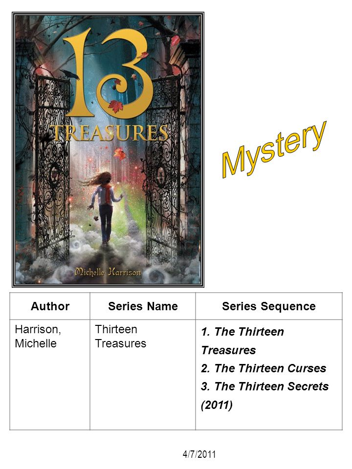 AuthorSeries NameSeries Sequence Harrison, Michelle Thirteen Treasures 1. The Thirteen Treasures 2. The Thirteen Curses 3. The Thirteen Secrets (2011)
