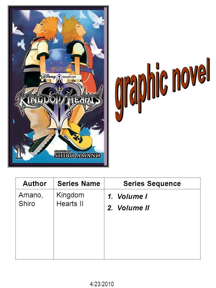 AuthorSeries NameSeries Sequence Amano, Shiro Kingdom Hearts II 1. Volume I 2. Volume II 4/23/2010