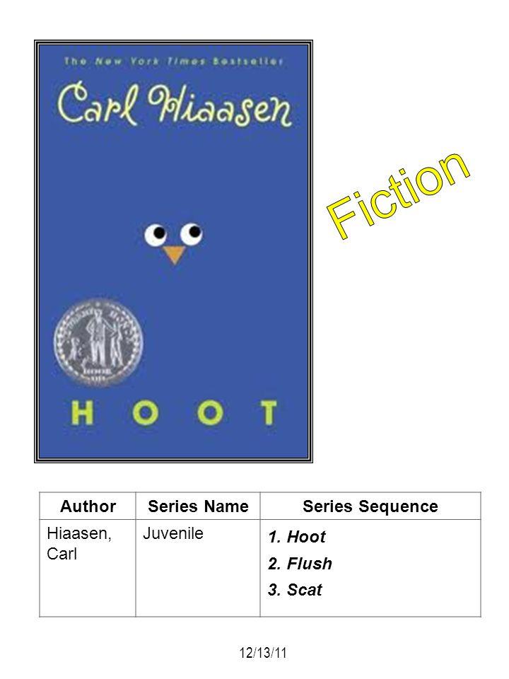 AuthorSeries NameSeries Sequence Hiaasen, Carl Juvenile 1. Hoot 2. Flush 3. Scat 12/13/11