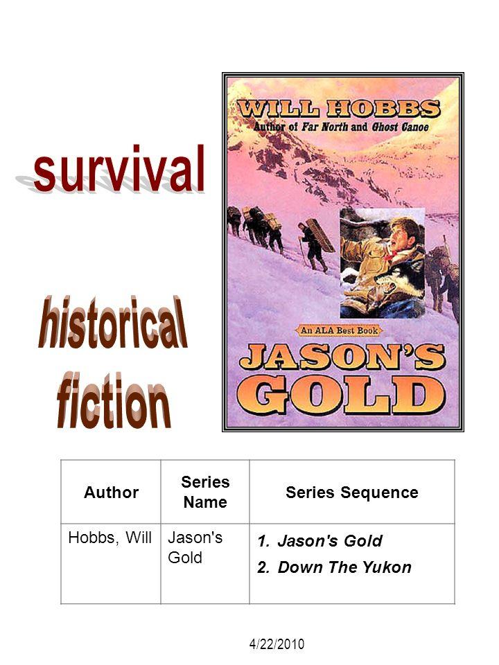 Author Series Name Series Sequence Hobbs, WillJason's Gold 1.Jason's Gold 2.Down The Yukon 4/22/2010