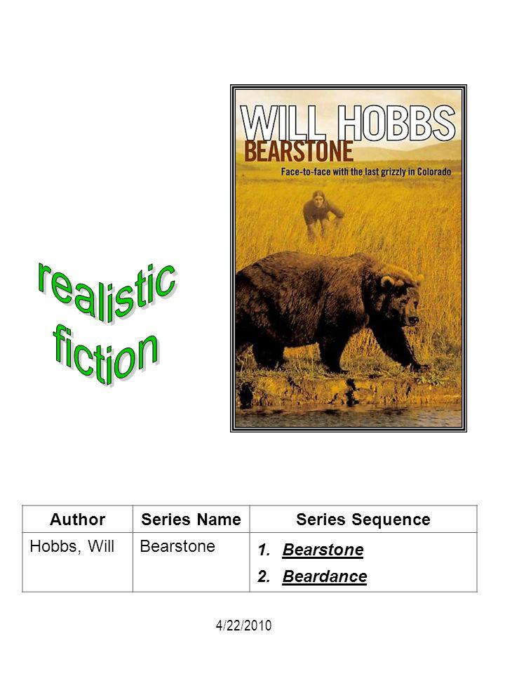 AuthorSeries NameSeries Sequence Hobbs, WillBearstone 1.Bearstone 2.Beardance 4/22/2010