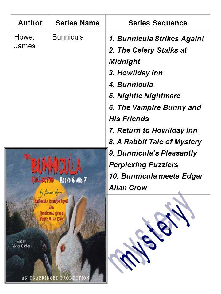 AuthorSeries NameSeries Sequence Howe, James Bunnicula 1. Bunnicula Strikes Again! 2. The Celery Stalks at Midnight 3. Howliday Inn 4. Bunnicula 5. Ni