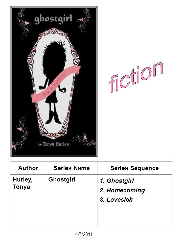 AuthorSeries NameSeries Sequence Hurley, Tonya Ghostgirl 1. Ghostgirl 2. Homecoming 3. Lovesick 4/7/2011