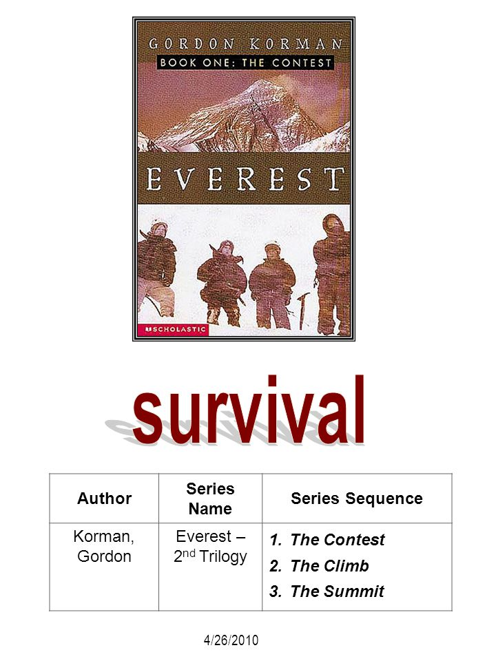 Author Series Name Series Sequence Korman, Gordon Everest – 2 nd Trilogy 1.The Contest 2.The Climb 3.The Summit 4/26/2010