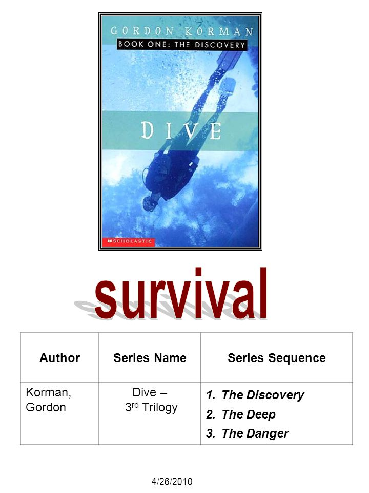 AuthorSeries NameSeries Sequence Korman, Gordon Dive – 3 rd Trilogy 1.The Discovery 2.The Deep 3.The Danger 4/26/2010