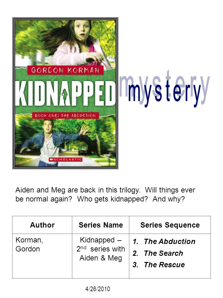 AuthorSeries NameSeries Sequence Korman, Gordon Kidnapped – 2 nd series with Aiden & Meg 1.The Abduction 2.The Search 3.The Rescue Aiden and Meg are b