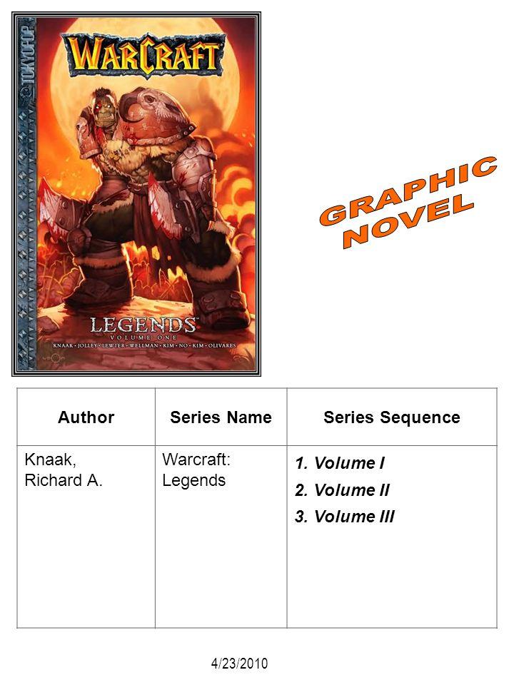 AuthorSeries NameSeries Sequence Knaak, Richard A. Warcraft: Legends 1. Volume I 2. Volume II 3. Volume III 4/23/2010