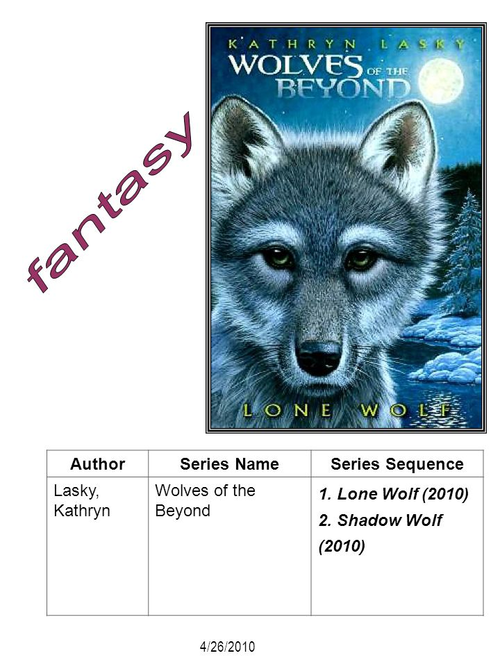 AuthorSeries NameSeries Sequence Lasky, Kathryn Wolves of the Beyond 1. Lone Wolf (2010) 2. Shadow Wolf (2010) 4/26/2010