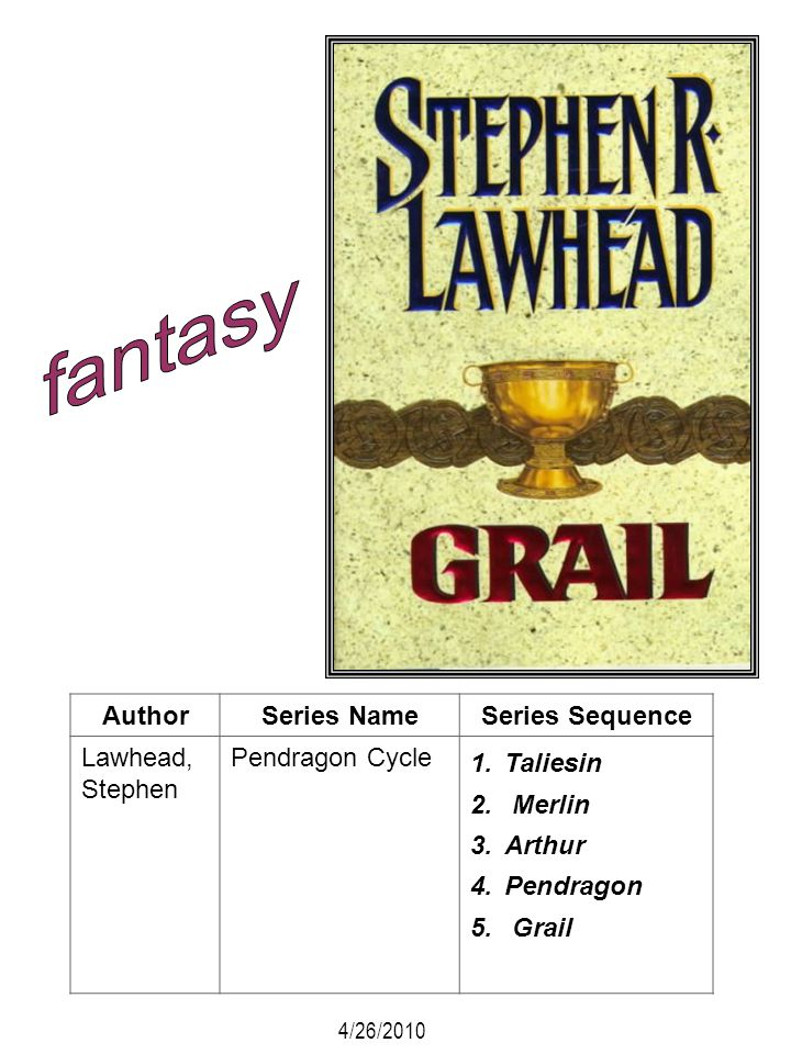 AuthorSeries NameSeries Sequence Lawhead, Stephen Pendragon Cycle 1.Taliesin 2. Merlin 3.Arthur 4.Pendragon 5. Grail 4/26/2010