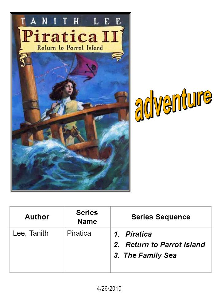 Author Series Name Series Sequence Lee, TanithPiratica 1. Piratica 2. Return to Parrot Island 3.The Family Sea 4/26/2010