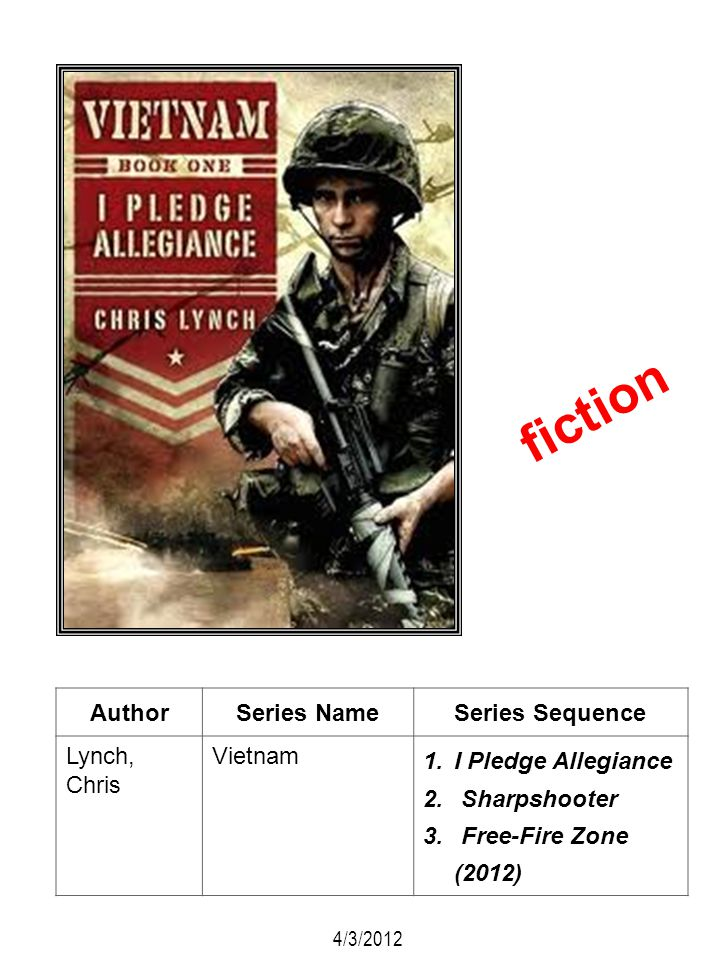 AuthorSeries NameSeries Sequence Lynch, Chris Vietnam 1.I Pledge Allegiance 2. Sharpshooter 3. Free-Fire Zone (2012) fiction 4/3/2012