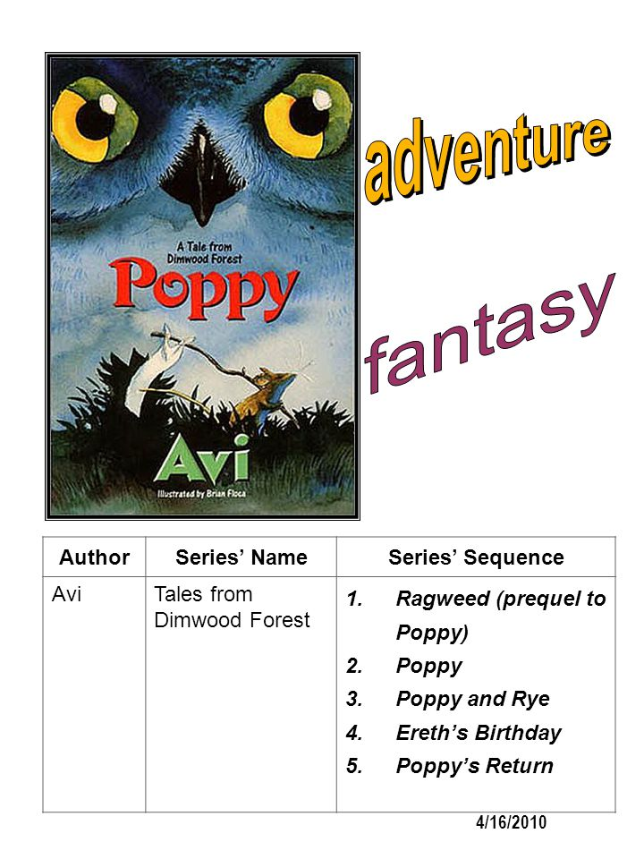 AuthorSeries NameSeries Sequence AviTales from Dimwood Forest 1.Ragweed (prequel to Poppy) 2.Poppy 3.Poppy and Rye 4.Ereths Birthday 5.Poppys Return 4