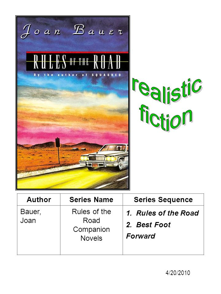 AuthorSeries NameSeries Sequence Bauer, Joan Rules of the Road Companion Novels 1. Rules of the Road 2. Best Foot Forward 4/20/2010