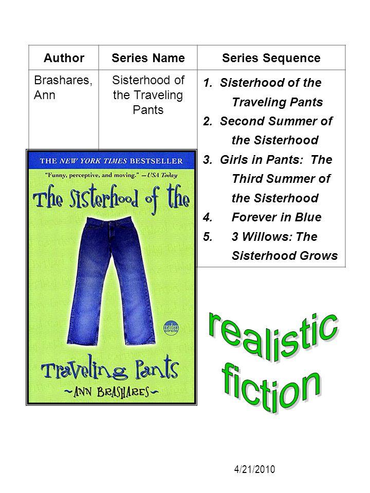 AuthorSeries NameSeries Sequence Brashares, Ann Sisterhood of the Traveling Pants 1. Sisterhood of the Traveling Pants 2. Second Summer of the Sisterh