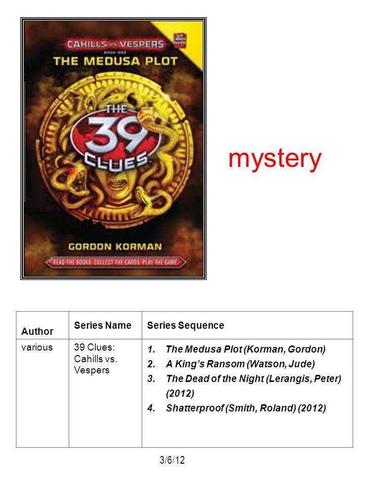 Author Series NameSeries Sequence various39 Clues: Cahills vs. Vespers 1. The Medusa Plot (Korman, Gordon) 2.A Kings Ransom (Watson, Jude) 3.The Dead
