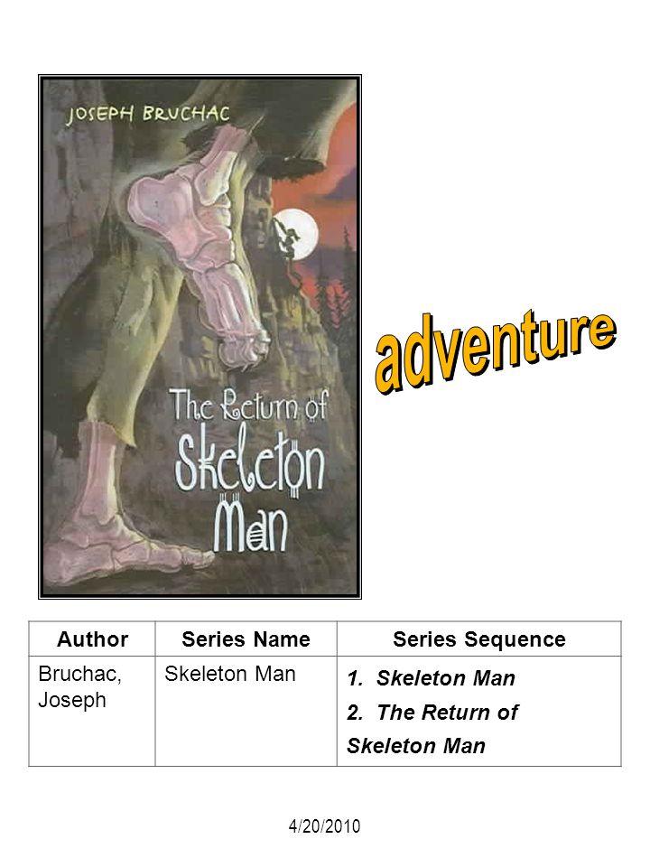 AuthorSeries NameSeries Sequence Bruchac, Joseph Skeleton Man 1. Skeleton Man 2. The Return of Skeleton Man 4/20/2010